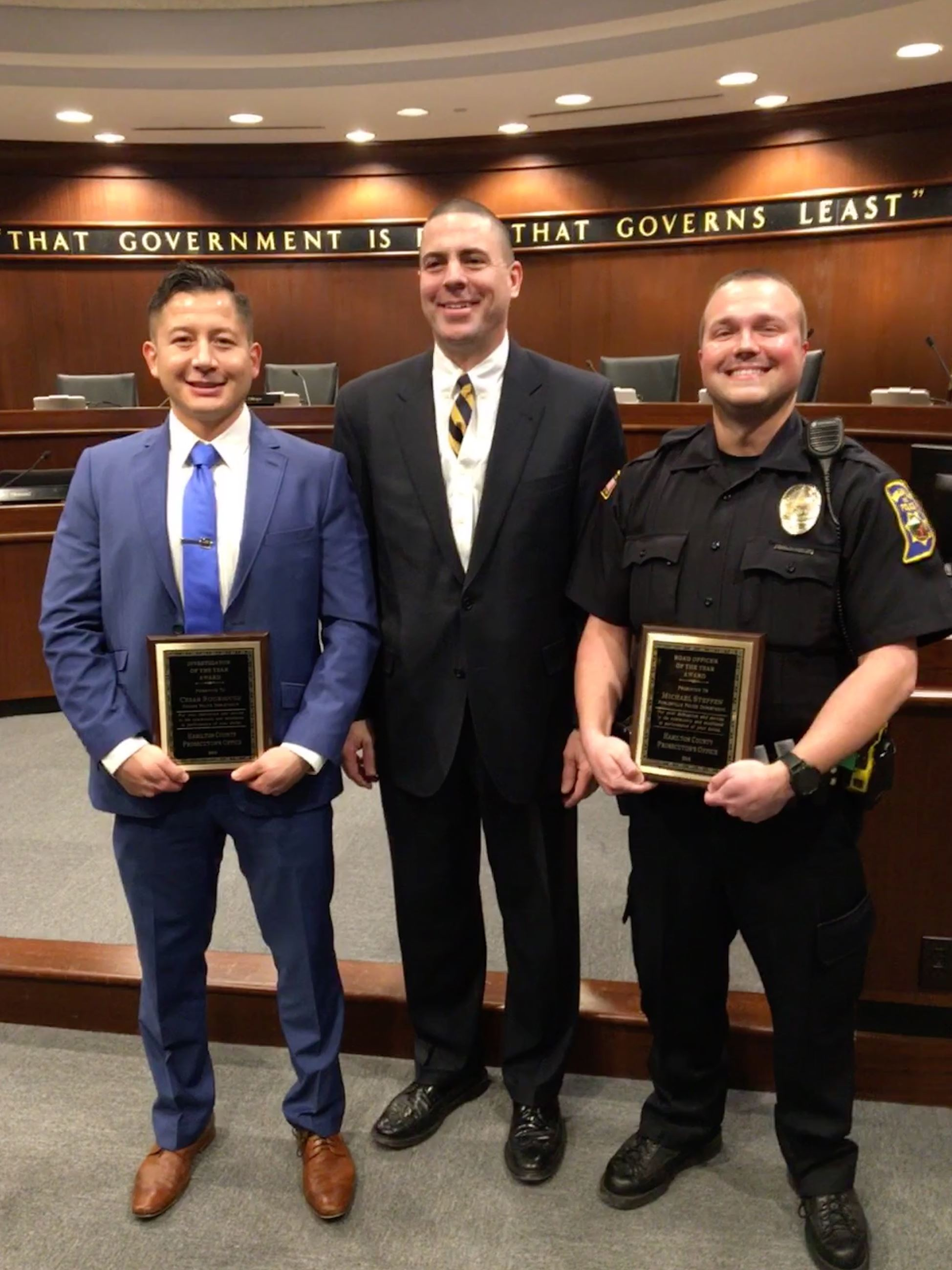 2018 Officers of the Year (L-R: Det. Rodriguez, PA Buckingham, Ofcr. Steffen)