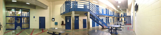 Jail Interior with Tables and Cells