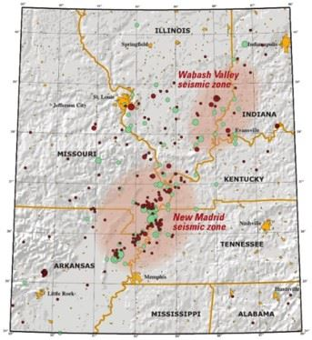 Earthquake Zones showing the New Madrid and Wabash Valley Fault Zones