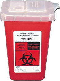 An approved red sharps containter that is clearly labeled